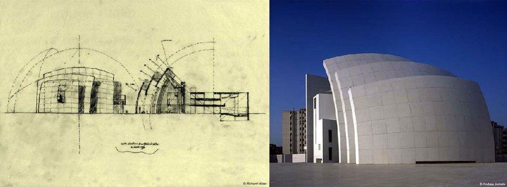 「潔白便是一切的記憶,以及對於其他顏色的期待。白色對我而言,完全相反於字面上的意義,它代表的是不同時間的自然、有機與改變。」這是理查邁爾(Richard Meier)在 1984 年獲頒普立茲克建築獎時的一段演說。1970 年時,理查邁爾與彼得艾森曼(Peter Eisenmen)等五位建築設計師,因為受到柯比意(Le Corbusier)提倡的純粹主義形式所影響,特別鍾愛輕快明亮的白色幾何建築形體,因而被稱為「紐約五人組」(The New York Five)或「白派」(The Whites)。 然