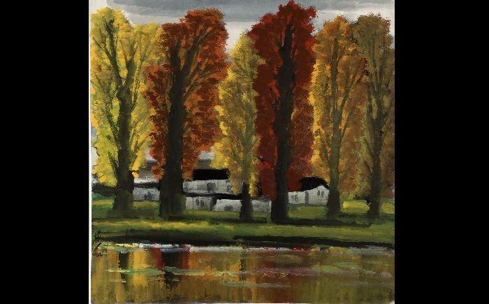 从第一代的中国油画家林风眠《枫林秋景》,所呈现中国彩墨的流动性,到